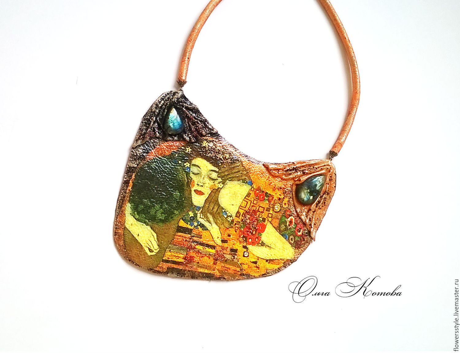 Necklace made of leather with labradorite Kiss by Gustav Klimt, Necklace, Kursk,  Фото №1