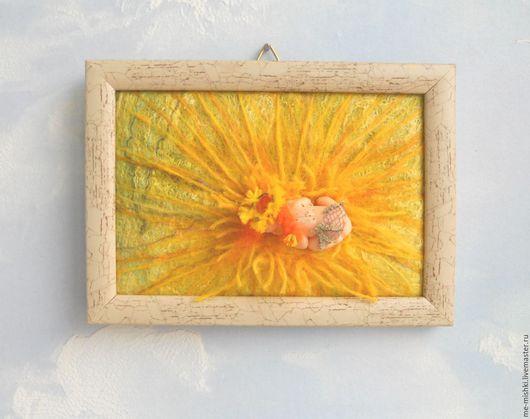 """Детская ручной работы. Ярмарка Мастеров - ручная работа. Купить картина-миниатюра """"Фея Одуванчик"""". Handmade. Желтый, картины с феями"""