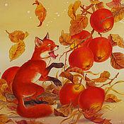 """Аксессуары ручной работы. Ярмарка Мастеров - ручная работа батик шарф """"Лисенок и яблоки"""". Handmade."""