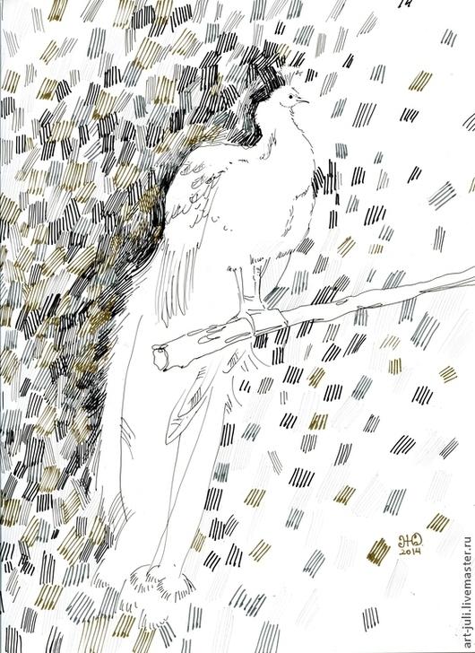 """Животные ручной работы. Ярмарка Мастеров - ручная работа. Купить рисунок """"белый павлин 2"""". Handmade. Белый павлин рисунок"""