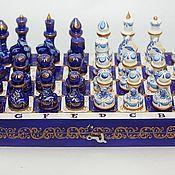 Сувениры и подарки ручной работы. Ярмарка Мастеров - ручная работа Оригинальный подарок шахматы деревянные Гжель-кобальт. Handmade.