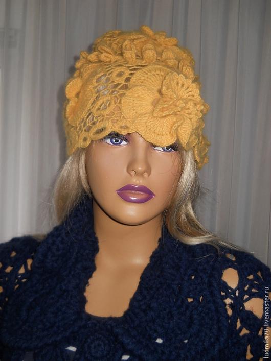 """Шапки ручной работы. Ярмарка Мастеров - ручная работа. Купить шапочка вязаная""""Леди"""". Handmade. Желтый, ажур"""