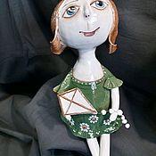 """Колокольчики ручной работы. Ярмарка Мастеров - ручная работа Кукла колокольчик """"Девушка  с воздушным змеем"""". Handmade."""