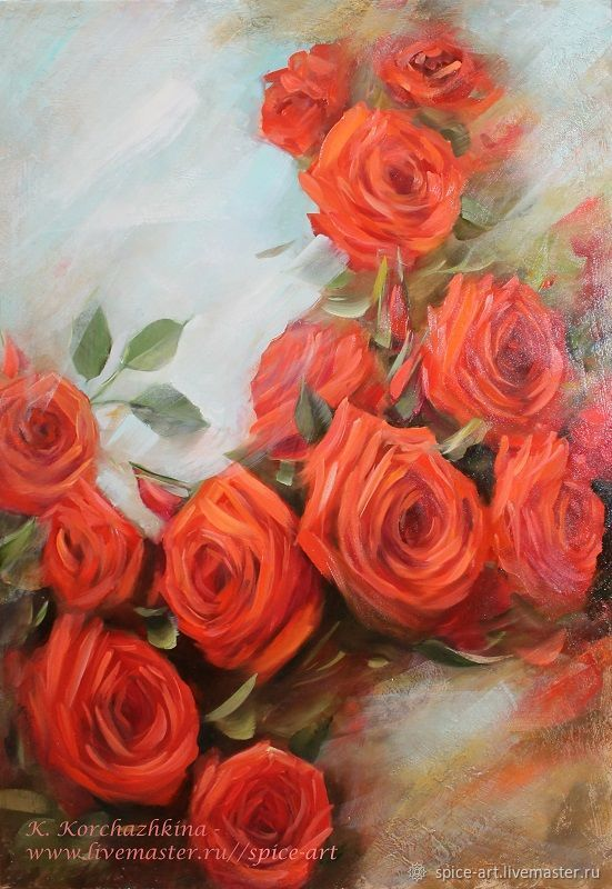 Oil Painting Of Roses With Love 60h80sm Canvas Flowers Rose Gift