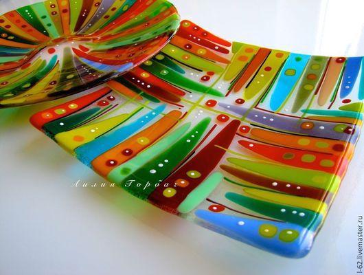Декоративная посуда ручной работы. Ярмарка Мастеров - ручная работа. Купить тарелки из стекла, фьюзинг  Шапито. Handmade. Стекло, кухня