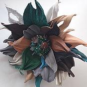 Украшения handmade. Livemaster - original item Leather flower brooch