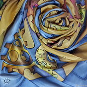 Scarves handmade. Livemaster - original item Silk scarf stole Steampunk Batik natural silk. Handmade.
