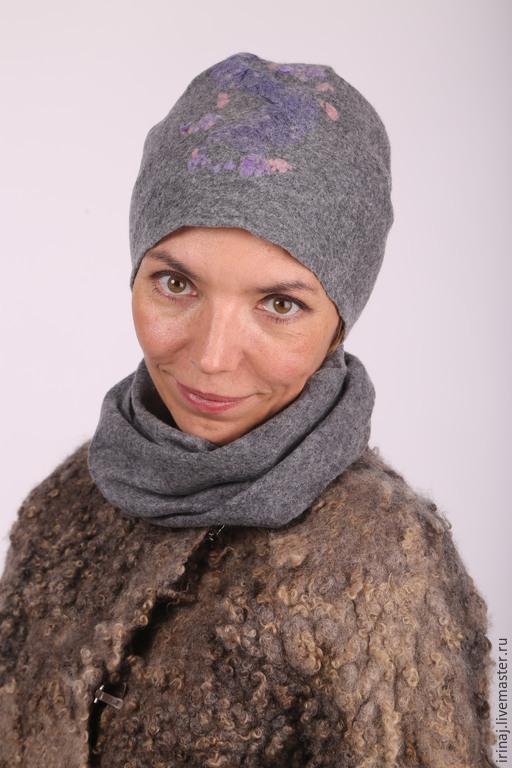 "Шапки ручной работы. Ярмарка Мастеров - ручная работа. Купить валяная шапочка  ""Gray"". Handmade. Шляпка, валяная шляпа"
