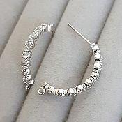 Материалы для творчества handmade. Livemaster - original item Earrings hooks with cubic Zirconia 23h3mm rhodium (3901). Handmade.