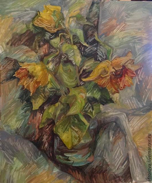 Картины цветов ручной работы. Ярмарка Мастеров - ручная работа. Купить Подсолнухи в банке, этюд. Handmade. Натюрморт с цветами