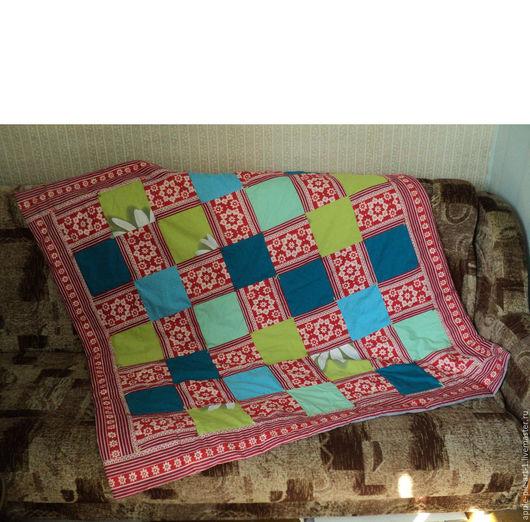 Лоскутный плед из квадратов, клетчатый плед, детское лоскутное одеяло