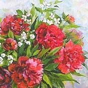 Картины и панно handmade. Livemaster - original item Burgundy peonies Painting is oil on canvas 40 by 50 cm. Handmade.