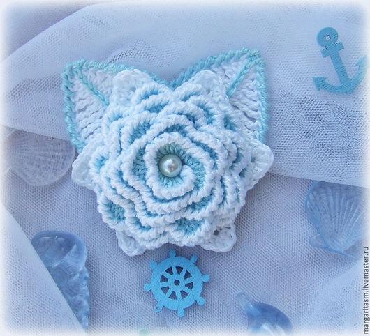"""Броши ручной работы. Ярмарка Мастеров - ручная работа. Купить Брошь """"Морская пена"""". Handmade. Голубой, брошь цветок, вязание"""