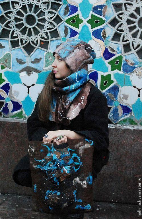 Комплекты аксессуаров ручной работы. Ярмарка Мастеров - ручная работа. Купить Валяная шапка и шарф-бактус Бирюза и шоколад. Handmade.