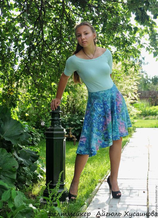 """Юбки ручной работы. Ярмарка Мастеров - ручная работа. Купить Авторская валяная юбка """"Голубое поле"""". Handmade. Голубой, Валяние"""