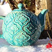 """Посуда ручной работы. Ярмарка Мастеров - ручная работа """"Azure"""" чайник керамический. Handmade."""