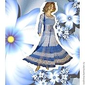 Одежда ручной работы. Ярмарка Мастеров - ручная работа летнее платье Голубой цветок. Handmade.