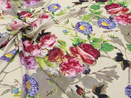 Шитье ручной работы. Ярмарка Мастеров - ручная работа. Купить ткань штапель розы и астры бежевый. Handmade. Комбинированный, ткани
