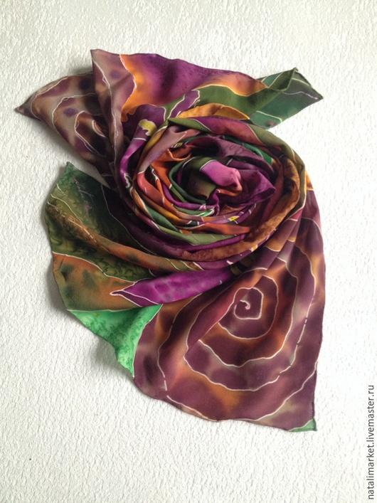 """Шарфы и шарфики ручной работы. Ярмарка Мастеров - ручная работа. Купить Шарф """"Цветы лиловые полей"""" батик, натуральный шелк. Handmade."""