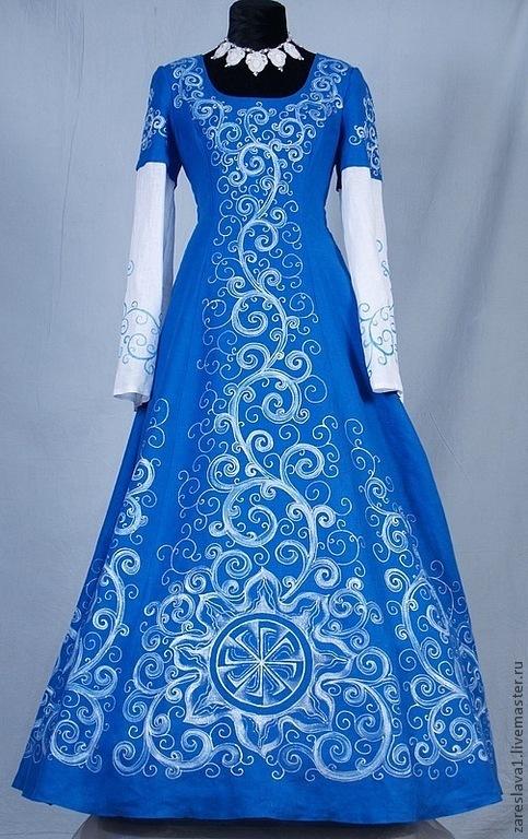 Одежда ручной работы. Ярмарка Мастеров - ручная работа. Купить Платье Веринея синее с рукавом. Handmade. Синий, славянский стиль
