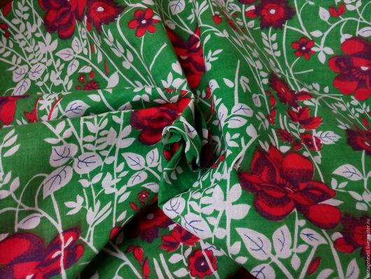 Шитье ручной работы. Ярмарка Мастеров - ручная работа. Купить Радостная бязевая ткань с цветами. Хлопок. Винтаж. 5,7 м. Handmade.