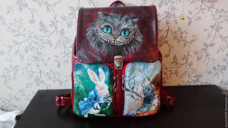 Рюкзак кожаный городской с ручной росписью для Марины, Сумки, Ногинск, Фото №1