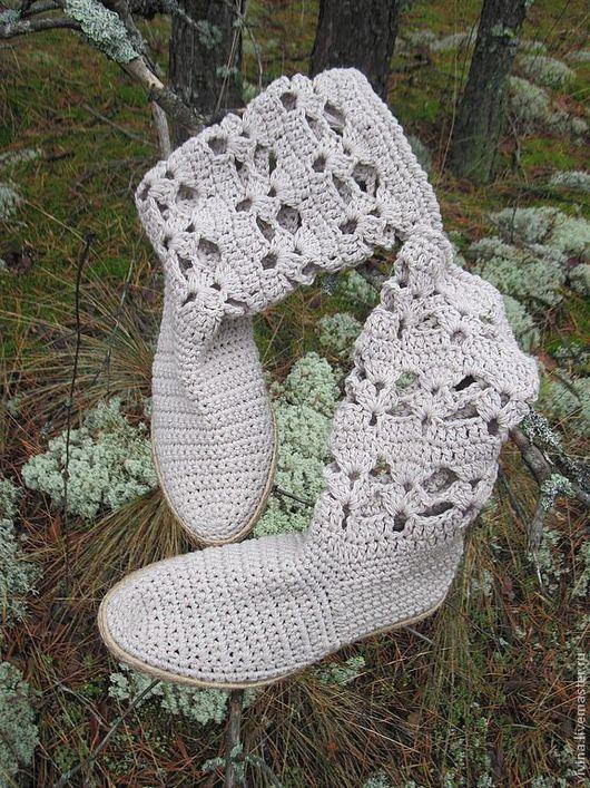 """Обувь ручной работы. Ярмарка Мастеров - ручная работа. Купить Сапожки """"Weekend """". Handmade. Белый, сапожки вязаные, лён"""