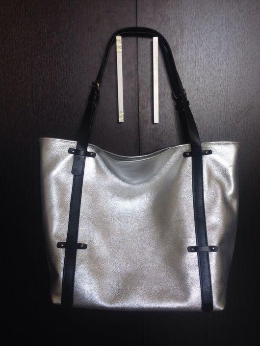 Женские сумки ручной работы. Ярмарка Мастеров - ручная работа. Купить Сумка шопер Silver dust. Handmade. Кожа
