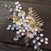 Свадебный салон ручной работы. Ярмарка Мастеров - ручная работа Золотой свадебный гребень с листиками в розовых оттенках. Handmade.
