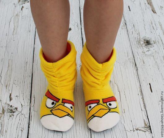 """Обувь ручной работы. Ярмарка Мастеров - ручная работа. Купить Домашние сапожки """"Angry birds"""". Handmade. Желтый, домашние сапожки"""