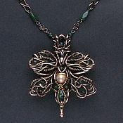 Украшения handmade. Livemaster - original item Flower necklace copper necklace with pearls and chrysoprase. Handmade.