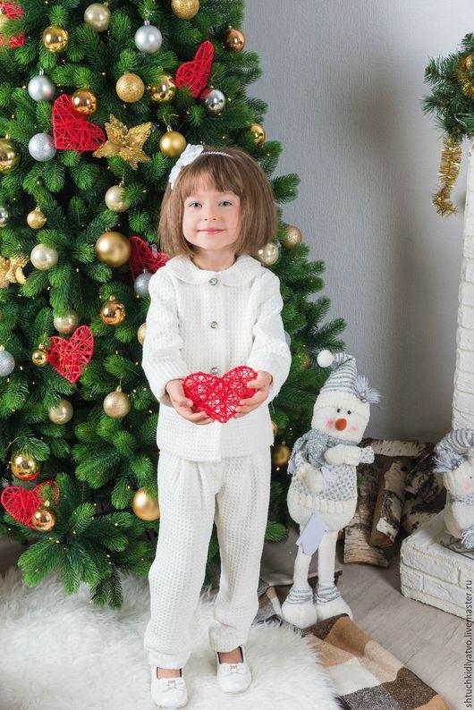 Одежда для девочек, ручной работы. Ярмарка Мастеров - ручная работа. Купить Элегантный белый костюм с брюками. Handmade. Белый, жакет