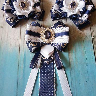 Украшения ручной работы. Ярмарка Мастеров - ручная работа Бело-синий набор банты и галстук-брошь в школу на 1 сентября. Handmade.