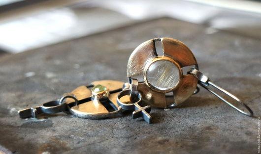 Серьги ручной работы. Ярмарка Мастеров - ручная работа. Купить AVIATORS серьги (гроссуляр, кварц, серебро, латунь, золото). Handmade.