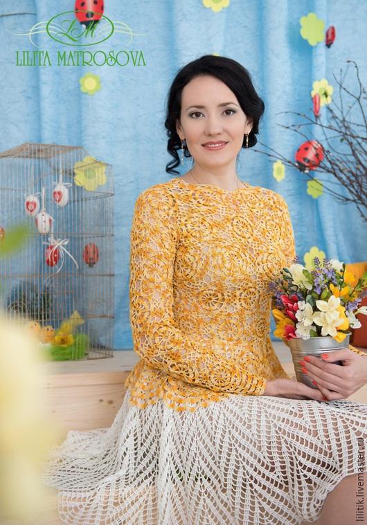 """Блузки ручной работы. Ярмарка Мастеров - ручная работа. Купить """"Цветочная поляна"""". Handmade. Желтый, кружевная блузка, хлопок"""