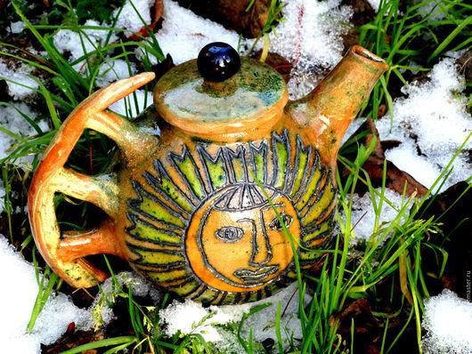 """Чайники, кофейники ручной работы. Ярмарка Мастеров - ручная работа. Купить Чайник """"Солнце и луна"""". Handmade. Чай, керамический"""
