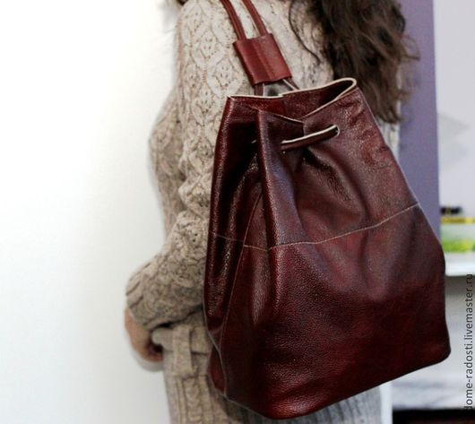 Кожаный рюкзак, рюкзак кожаный, женский рюкзак, коричневый рюкзак, натуральная кожа, 8 марта 2017. Мастер Сечкина Юлия http://www.livemaster.ru/v-dome-radosti