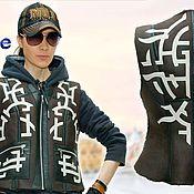 Одежда handmade. Livemaster - original item Fur vest with an ornament from a natural sheepskin, a waist bag.. Handmade.