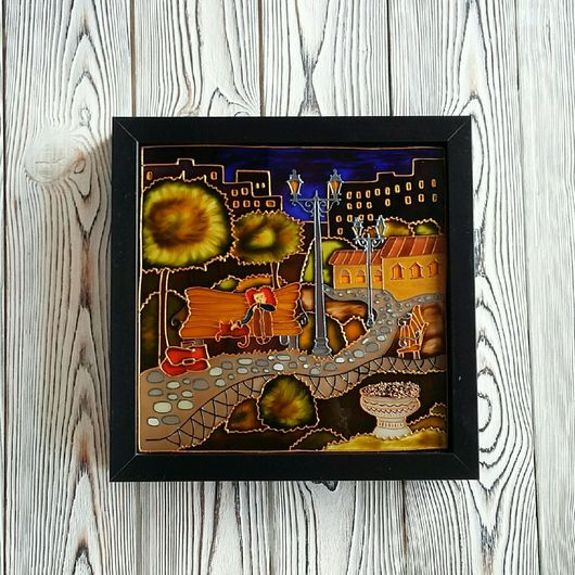 Картина с витражной росписью и подсветкой По дороге домой