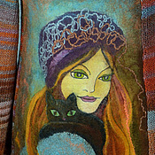 """Одежда ручной работы. Ярмарка Мастеров - ручная работа свитер вязаный комбинированный """"Девушка с черной кошкой"""". Handmade."""