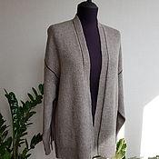 Одежда handmade. Livemaster - original item Grey and beige cardigan with brown Merino stripe with silk. Handmade.