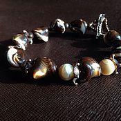handmade. Livemaster - original item Bracelet From the bottom of the chocolate sea. Mother of pearl, designer accessories. Handmade.