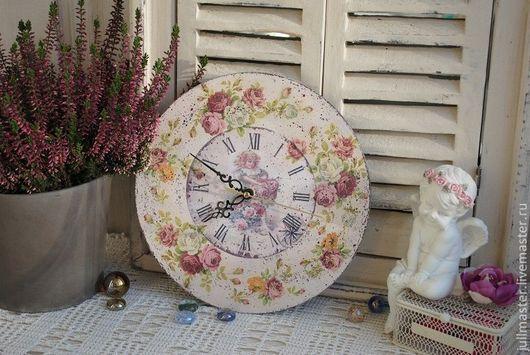 """Часы для дома ручной работы. Ярмарка Мастеров - ручная работа. Купить """"Розовый сад"""" часы. Handmade. Розы, кремовый"""