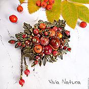 """Украшения handmade. Livemaster - original item Brooch """"Ashberry"""" with stones and seed beads. Handmade."""