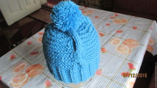 Шапки и шарфы ручной работы. Ярмарка Мастеров - ручная работа. Купить шапочка для ребенка. Handmade. Синий, ручная вязка