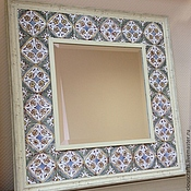 Для дома и интерьера ручной работы. Ярмарка Мастеров - ручная работа Зеркало настенное в раме из керамической плитки. Handmade.