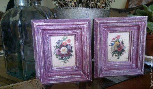 Картины цветов ручной работы. Ярмарка Мастеров - ручная работа. Купить Картины парные в деревянном состаренном багете Лиловые. Handmade.