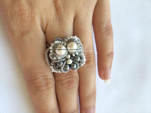 Кольца ручной работы. Ярмарка Мастеров - ручная работа. Купить Кружевное кольцо фриволите. Handmade. Серый, купить кольцо
