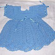 Работы для детей, ручной работы. Ярмарка Мастеров - ручная работа Платье для девочки - Голубые кружева. Handmade.