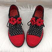 Обувь ручной работы handmade. Livemaster - original item Brogue women`s black and red polka dot. Handmade.